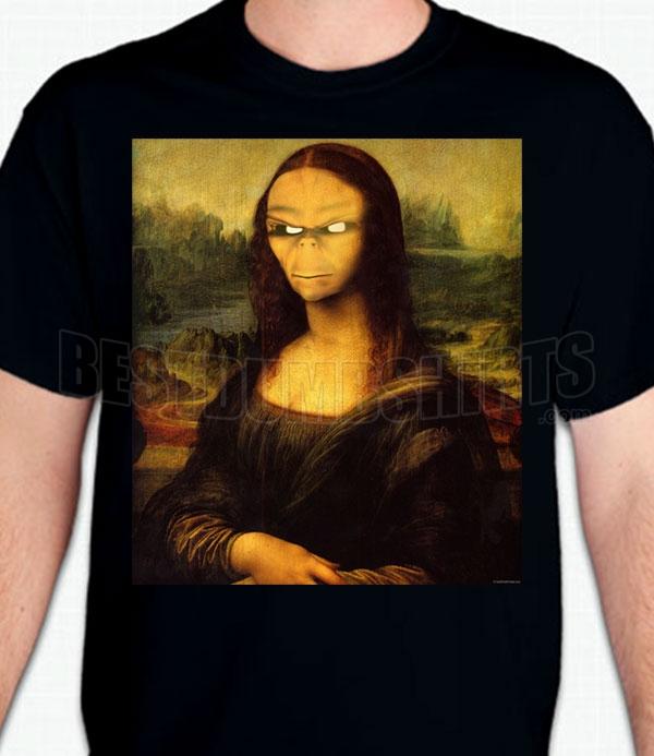fe0c65322592 Alien Mona Lisa T-Shirt - BestDumbShirts.com