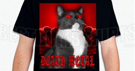death metal cat t shirt. Black Bedroom Furniture Sets. Home Design Ideas